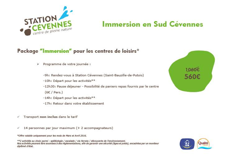 Stage immersion sud cevennes special Groupes - Mars-Avril 2016